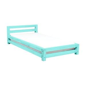 Turkusowe jednoosobowe łóżko dziecięce z drewna sosnowego Benlemi Single,90x160cm