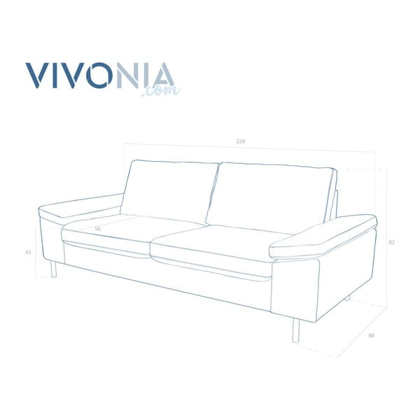 Brązowa sofa trzyosobowa Vivonita Nathan