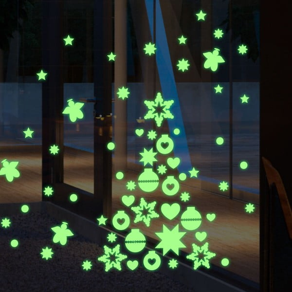 Fluorescencyjna naklejka Green Christmas