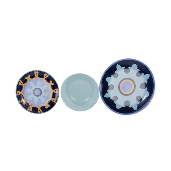 Komplet 18 porcelanowych talerzy Zafaf Bluebird
