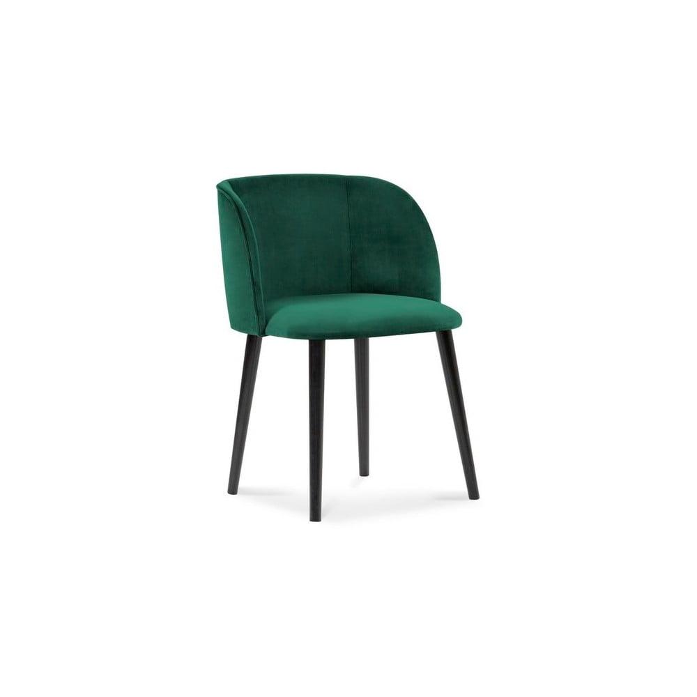 Butelkowozielone krzesło z aksamitnym obiciem Windsor & Co Sofas Aurora