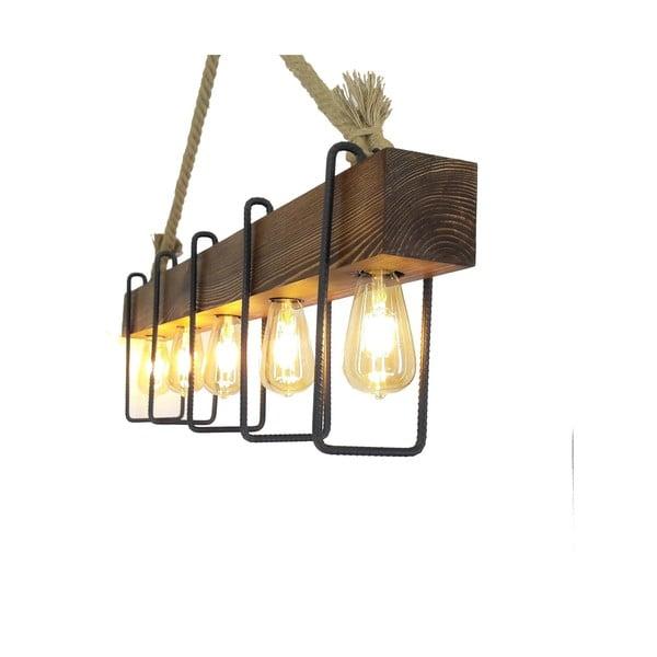 Drewniana lampa wisząca Demir, 5 żarówek