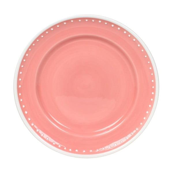 Zestaw 6 talerzy Dots Pink 21 cm, różowy