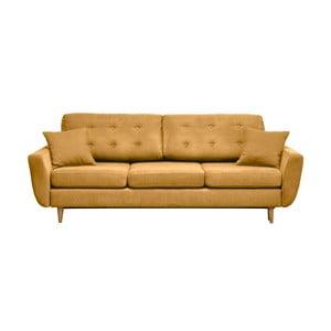 Musztardowa   trzyosobowa sofa rozkładana Comopolitan design Barcelona