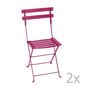 Zestaw 2 różowych krzeseł składanych Fermob Bistro