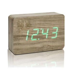 Jasnobrązowy budzik z zielonym wyświetlaczem LED Gingko Brick Click Clock