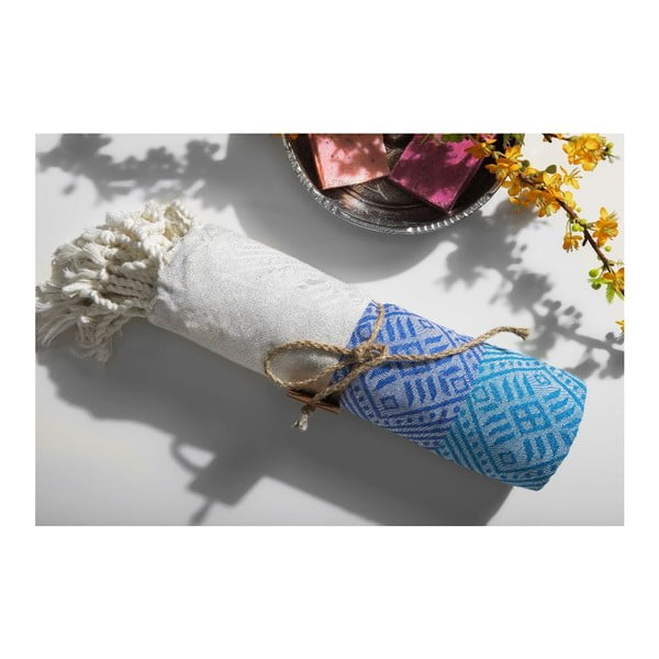 Ręcznik hammam Waves Blue, 105x175 cm