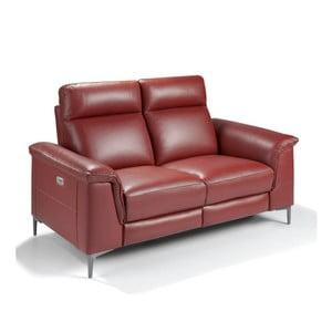 Czerwona skórzana sofa dwuosobowa z wysuwanym podnóżkiem Ángel Cerda Fabulosa