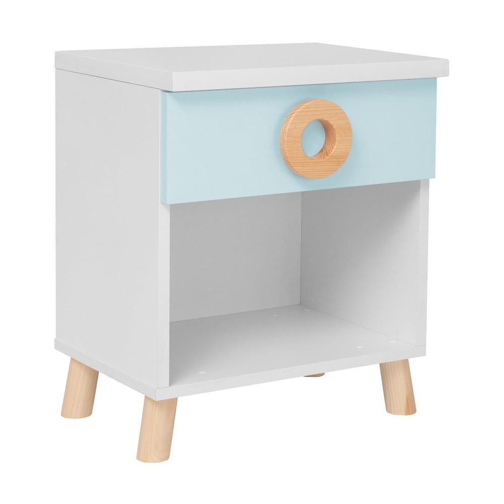 Niebiesko-biała szafka nocna KICOTI Circle