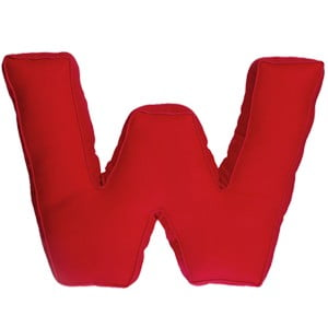Poduszka w kształcie litery W, czerwona