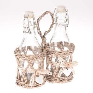 Buteleczki na ocet i olej w koszyku Willow
