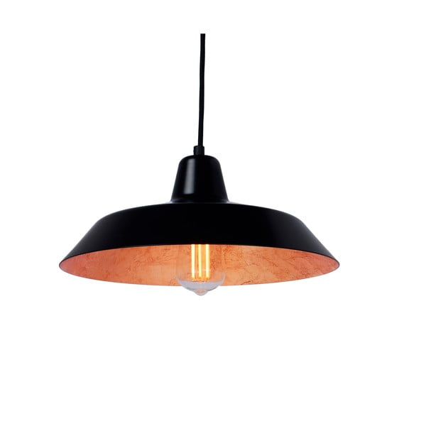 Czarna lampa wisząca z wnętrzem w miedzianym kolorze Bulb Attack Cinco