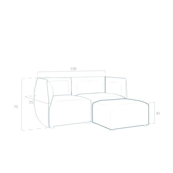 Sofa dwuosobowa VIVONITA Cube Sawana z podnogiem, ciemny beż