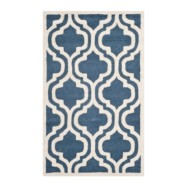 Niebieski dywan wełniany Safavieh Lola Azoru, 91x152 cm
