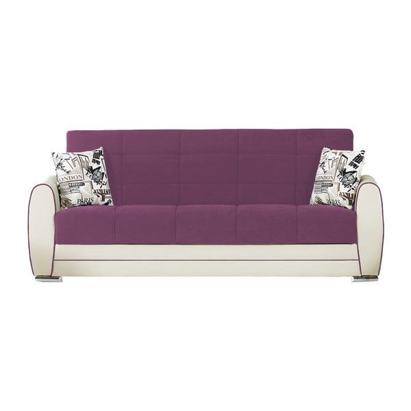 Karminowo-kremowa trzyosobowa sofa rozkładana ze schowkiem Esidra Rest
