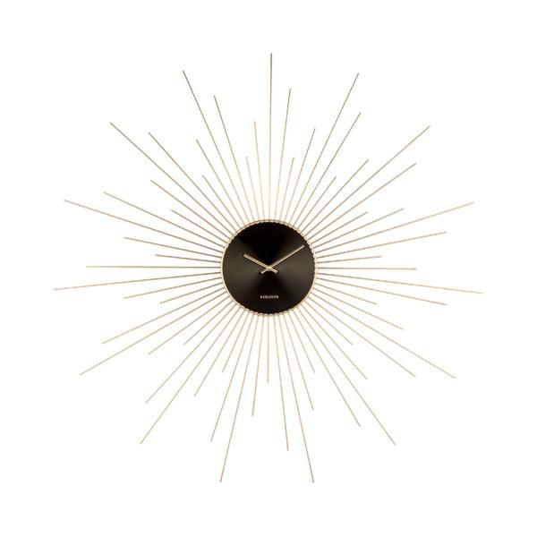 Zegar ścienny w czarno-złotym kolorze Karlsson Peony