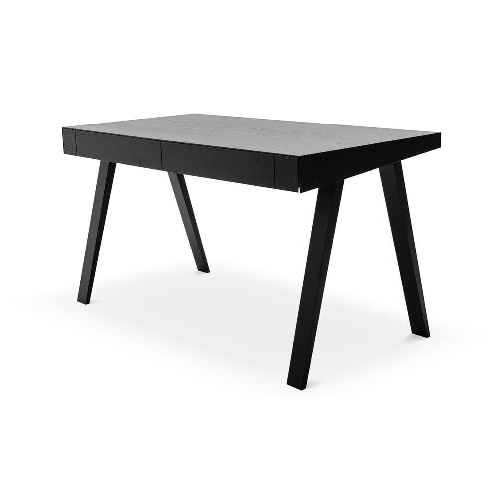 Czarne biurko z nogami z drewna jesionowego EMKO 4.9, 140x70 cm