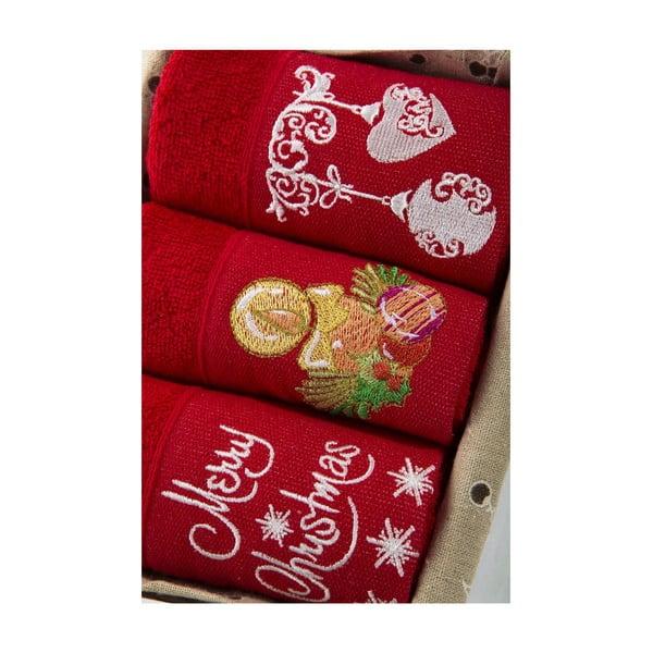 Zestaw 3 ręczników Xmas V4, 30x50 cm