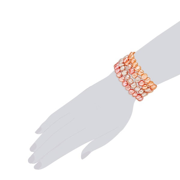 Pomarańczowa bransoletka perłowa Nova Pearls Laris