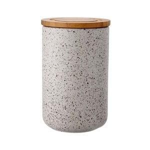 Szary pojemnik ceramiczny z bambusowym wieczkiem Ladelle Speckle, wys. 17cm