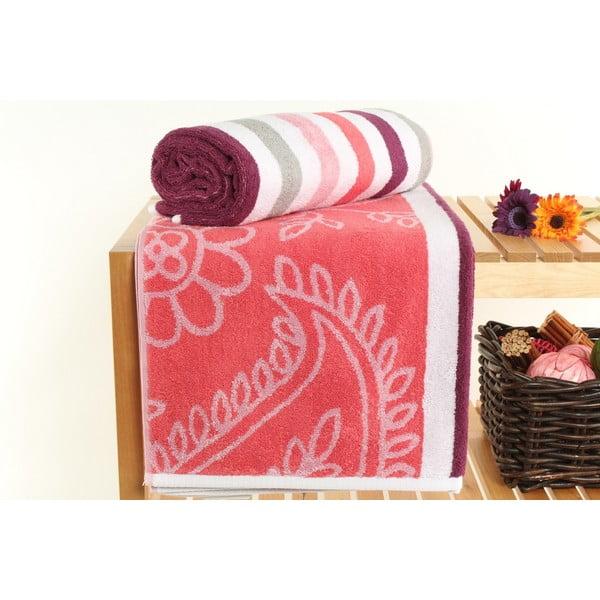 Komplet 2 ręczników Paisley Melon, 70x140 cm