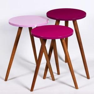 Zestaw 3 stolików Kate Louise Round (fioletowy, różowy)