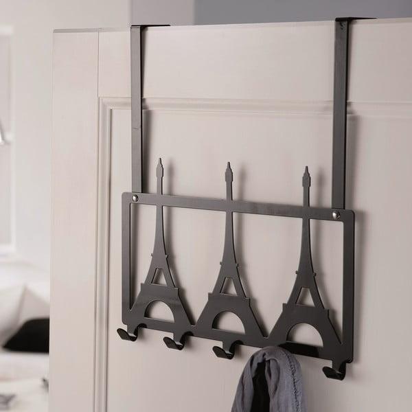 Czarny wieszak na drzwi z 5 haczykami Compactor Eiffel