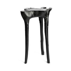 Czarny stolik z drewna tekowego Simla Jungle, ⌀ 40 cm