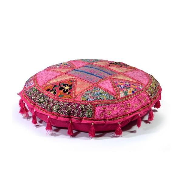 Poduszka do siedzenia wyszywana ręcznie Radżastan, różowa