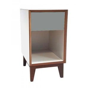 Duża szafka nocna z białym korpusem i ciemnoszarą szufladą Ragaba PIX
