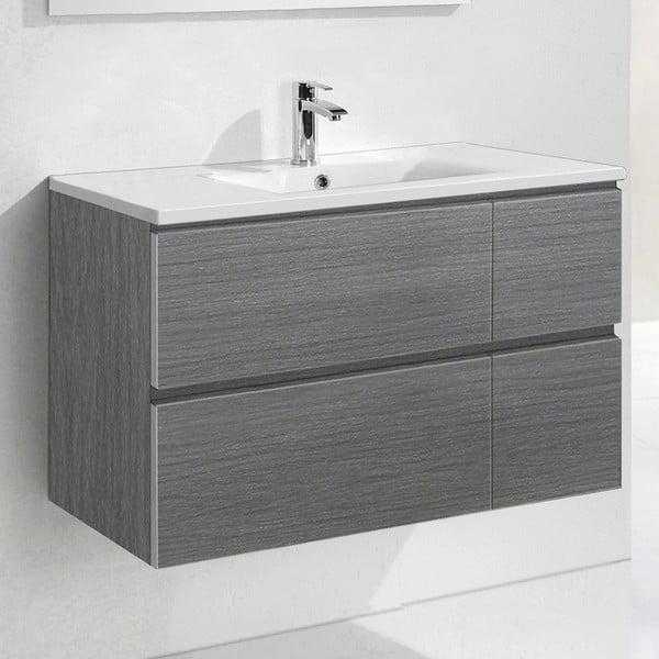 Szafka do łazienki z umywalką i lustrem Monza, odcień szarości, 120 cm