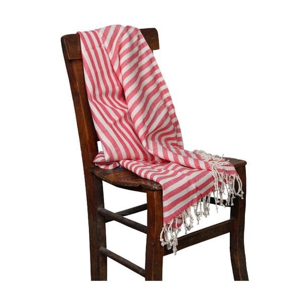 Czerwony ręcznik hammam Akasya Red, 90x190cm