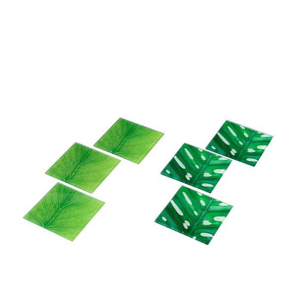 Zestaw 6 szklanych podstawek Green