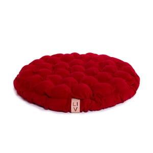 Ciemnoczerwona poduszka do siedzenia wypełniona piłeczkami do masażu Lindy Vrňáková Bloom, Ø 65 cm