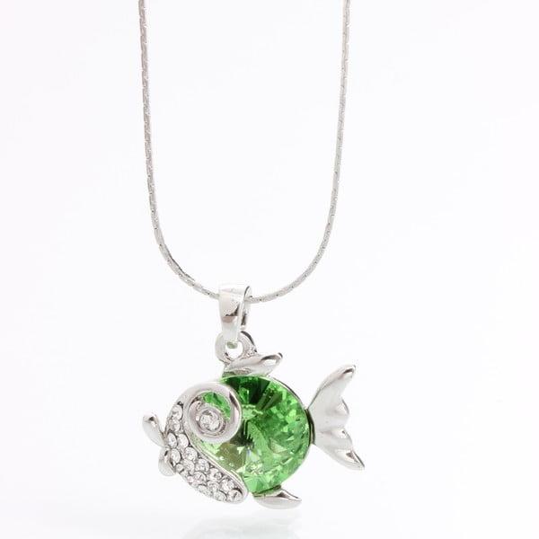 Naszyjnik ze Swarovski Elements, zielona rybka