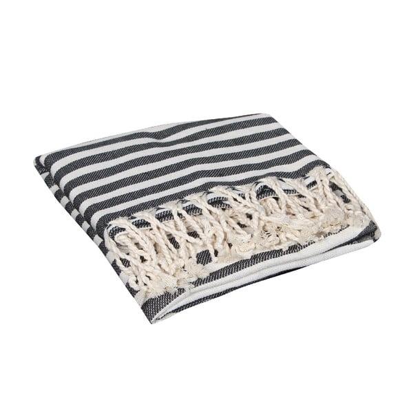 Czarny ręcznik hammam Akasya Black, 90x190cm
