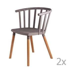 Zestaw 2 jasnoszarych krzeseł z drewnianymi nogami sømcasa Jenna