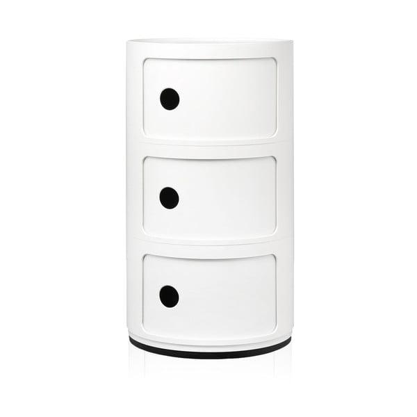 Biała szafka z 3 szufladami Kartell Componibili