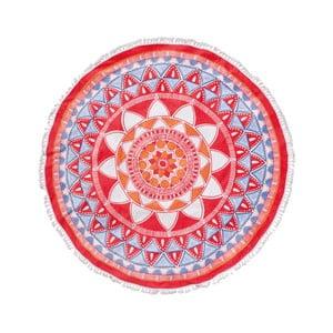 Czerwony ręcznik Seahorse Mandala, 150 cm