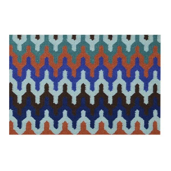 Wełniany dywan Zig Zag Multi, 140x200 cm