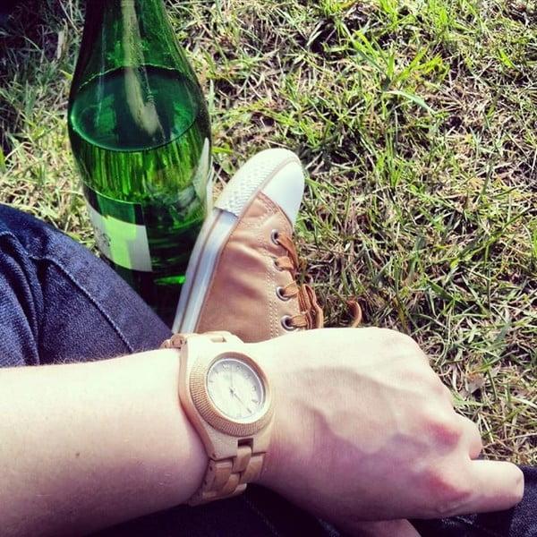 Drewniany zegarek damski Odyssey Beige