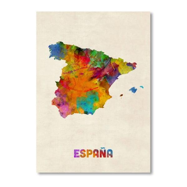 Plakat z kolorową mapą Hiszpanii Americanflat Art, 60x42cm