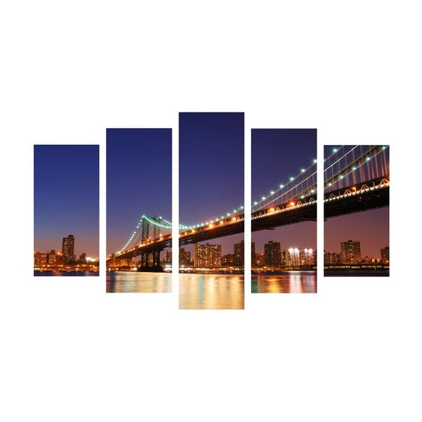 5-częściowy obraz Bridge Lights, 60x100 cm