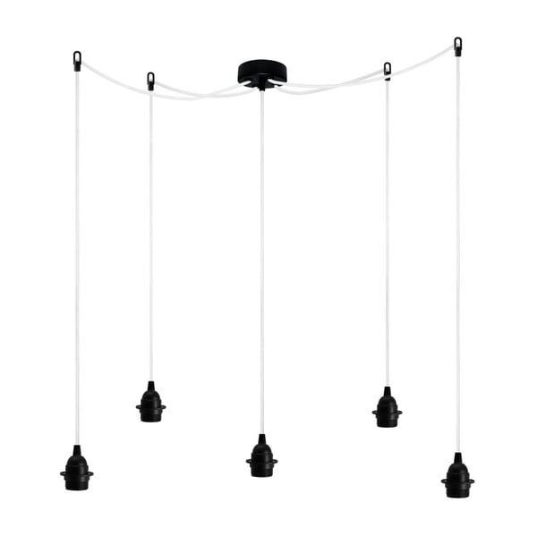 Czarno-biała pięcioramienna lampa wisząca Bulb Attack Uno Plus