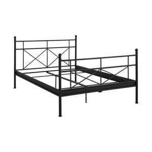 Czarne łóżko metalowe dwuosobowe Støraa Tanja, 140x200cm