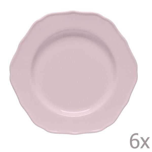 Zestaw 6 talerzyków deserowych Glamour Rosa