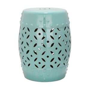 Turkusowy stolik ceramiczny odpowiedni na zewnątrz Safavieh Lattice Coin Blue