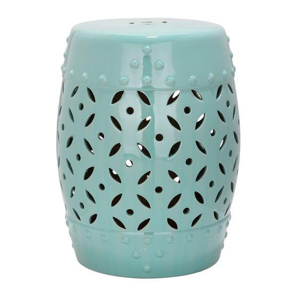 Turkusowy stolik ceramiczny Safavieh Lattice Coin Blue