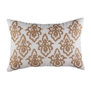 Poszewka na poduszkę, biała z błyszczącym miedzianym wzorem
