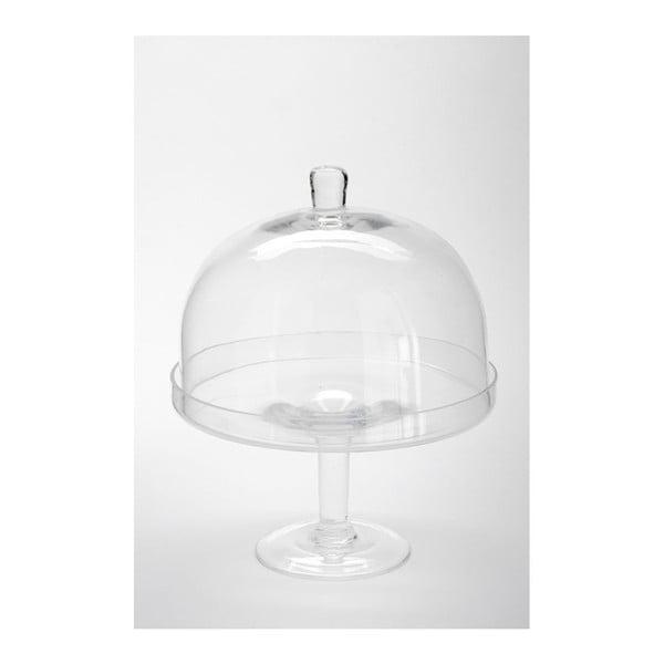Szklana patera z przykrywą Dome Knob, 25x32 cm